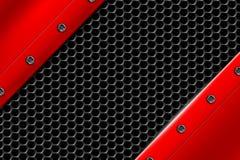 Fundo vermelho do metal com o rebite na malha metálica cinzenta Fotos de Stock