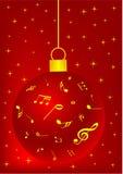 Fundo vermelho do Natal com esfera ilustração do vetor