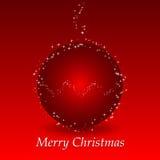 Fundo vermelho do Natal com esfera e estrelas Foto de Stock