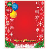 Fundo vermelho do Natal com floco de neve e bolas Fotos de Stock