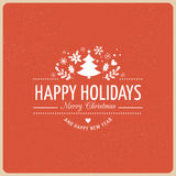 Fundo vermelho do Natal com a tipografia, rotulando ilustração stock