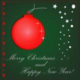 Fundo vermelho do Natal do vetor. corte o projeto de papel Fotografia de Stock Royalty Free