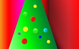 Fundo vermelho do Natal do inclinação com árvore verde e ornamento das bolas da árvore Colorido por anos novos Ilustração f do ve ilustração do vetor