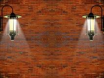 Fundo vermelho do projeto da parede e da lâmpada do vintage Foto de Stock Royalty Free
