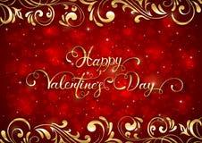 Fundo vermelho dos Valentim com corações e elementos ornamentado dourados Fotos de Stock Royalty Free
