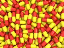 Fundo vermelho e amarelo dos comprimidos Ilustração Stock