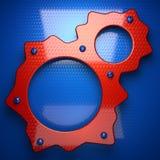 Fundo vermelho e azul do metal 3D rendido ilustração royalty free