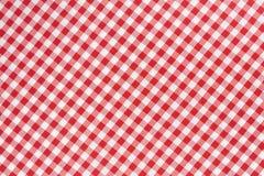 Fundo vermelho e branco da textura da toalha de mesa Imagem de Stock Royalty Free