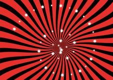 Fundo vermelho e preto do vetor do Sunburst Fotografia de Stock