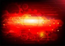 Fundo vermelho e tecnologia abstrata das engrenagens Ilustração do vetor Foto de Stock Royalty Free