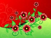Fundo vermelho e verde da flor ilustração do vetor