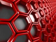 Fundo vermelho futurista brilhante do teste padrão do hexágono ilustração royalty free