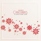 Fundo vermelho impressionante do Feliz Natal dos flocos de neve ilustração stock