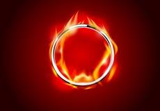 Fundo vermelho quente do anel abstrato do fogo do metal do cromo ilustração do vetor