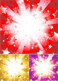 Fundo vermelho radiante com estrelas Imagens de Stock Royalty Free