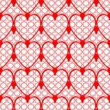Fundo vermelho sem emenda do coração do projeto Imagem de Stock