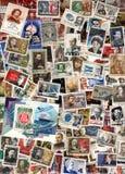 Fundo vertical de selos postais soviéticos Imagem de Stock