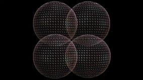 Fundo video abstrato com as quatro esferas do wireframe 3d que movem sobre a área preta, cores em mudança, zumbindo vídeos de arquivo