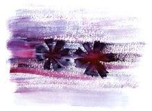 Fundo violeta da flor da aquarela Fotografia de Stock