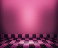 Fundo violeta da sala do mosaico do tabuleiro de xadrez Imagens de Stock