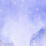 Fundo violeta da textura da paisagem do céu da neve do inverno da aquarela Foto de Stock