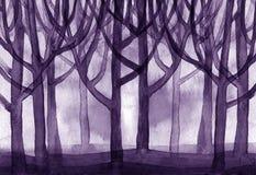 Fundo violeta das árvores de floresta da paisagem da aquarela Imagem de Stock Royalty Free