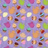 Fundo violeta do chá com queques Ilustração Stock
