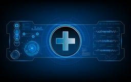Fundo virtual do conceito do fi do sci do ui médico do hud da tecnologia dos cuidados médicos Fotografia de Stock Royalty Free