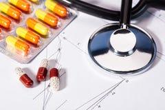 Fundos abstratos da medicina com comprimidos Imagens de Stock Royalty Free