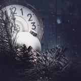 Fundos abstratos do xmas com relógios do vintage Foto de Stock Royalty Free