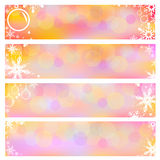 Fundos ajustados da bandeira do vetor com flocos de neve Fotos de Stock