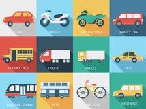 Fundos ajustados do ícone do conceito dos carros lisos Imagens de Stock Royalty Free