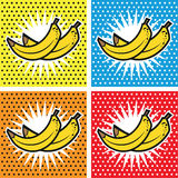 Fundos ajustados do pop art da banana Fotografia de Stock Royalty Free