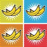 Fundos ajustados do pop art da banana Fotografia de Stock Royalty Free