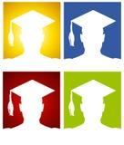 Fundos da silhueta do chapéu da graduação Fotografia de Stock Royalty Free