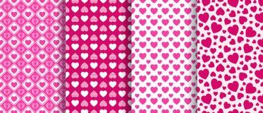 Fundos do dia do ` s do Valentim ajustados Coleção sem emenda dos testes padrões dos ícones dos corações do amor Textura repetida ilustração stock