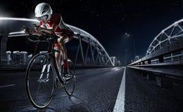 Fundos do esporte Bicicleta atlética da estrada de ciclismo da mulher imagens de stock