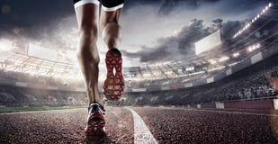 Fundos do esporte Estádio e pista de atletismo de futebol 3d rendem Imagem de Stock