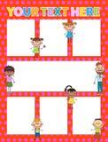 Fundos do folheto do vetor com crianças dos desenhos animados Projeto do molde de Infographic Imagem de Stock Royalty Free