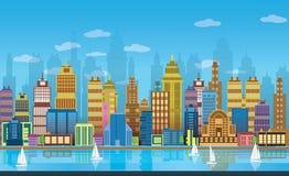 Fundos do jogo da cidade, 2d aplicação do jogo fotografia de stock royalty free