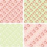 Fundos do Valentim ajustados. Papel de parede retro dos corações Imagens de Stock