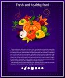 Fundos do vetor, bandeiras sobre comer saudável Elementos dos vegetais do vetor para o infographics vegetais Fotografia de Stock