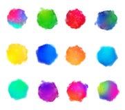 Fundos do vetor das manchas da pintura da aquarela das cores do arco-íris ajustados Fotografia de Stock