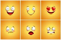 Fundos engraçados do papel de parede do cartaz do vetor dos smiley ajustados Imagens de Stock