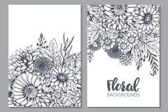 Fundos florais com as flores e as plantas tiradas mão ilustração stock