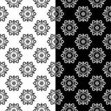 Fundos florais preto e branco Grupo de testes padrões sem emenda monocromáticos Imagem de Stock