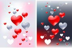 Fundos lustrosos do amor dos corações Fotos de Stock Royalty Free