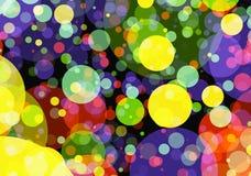 Fundos manycolored do bokeh dos círculos do feriado em Arrangem caótico Fotografia de Stock