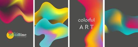 Fundos ondulados líquidos brilhantes abstratos das formas Foto de Stock Royalty Free