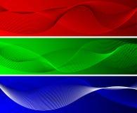 Fundos ondulados verdes e azuis vermelhos Foto de Stock Royalty Free